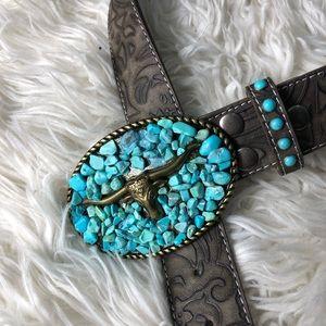 ÁNGEL RANCH Turquoise Longhorn Belt